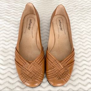 SOFTSPOTS brown loafers with weave front detail